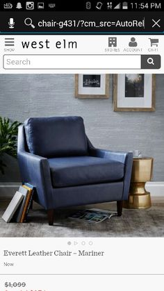 Everett Chair, Leather, Mariner  Great Deal From West Elm For Livingroom