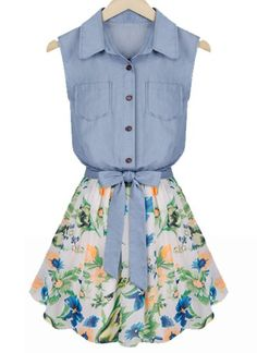 Floral Print Sleeveless Turn Down Collar Women's Faux Twinset DressVintage Dresses   RoseGal.com