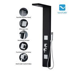 "Vantory VA108 59"" Aluminum Shower Panel System with 2 Overhead Rainfall Showers,2 Massage Jets and Handheld Shower Head"