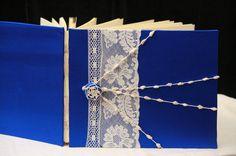Custom Wedding Guest Book Lace Sapphire Blue @ArtbyChapin