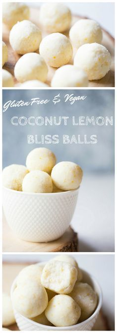 Looking for an incredibly simple healthy sweet treat?! Make these gluten free coconut bliss balls infused with fresh lemon. Only 5 ingredients and no baking required! | http://wholesomepatisserie.com /explore/glutenfree/ /search/?q=%23vegan&rs=hashtag /search/?q=%23raw&rs=hashtag /search/?q=%23blissballs&rs=hashtag /search/?q=%23proteinballs&rs=hashtag