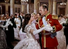 """Romy Schneider and Curd Jürgens in Katia (1959)Adopted from the real history. Katja's first ball, the Tsar opens the ball with her, they dance eye to eye, she tells him """"after this dance I will never dance with another one"""" Their destiny is already determined."""