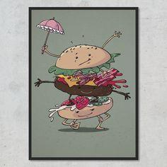 Det er en kunst at sammensætte en perfekt afbalanceret burger – så hæng denne plakat på væggen i dit køkken og bliv inspireret! Burger, Charlie Brown, Peanuts Comics, Fictional Characters, Instagram, Design, Art, Craft Art, Kunst