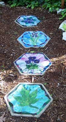 Stained glass stepping stones- need to know how to make these.