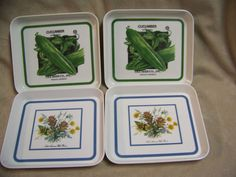 PIMPERNEL ACRYLIC SNACK TRAYS WITH CUCUMBER AND WILD FLOWER DECORATION -SET OF 4