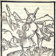 Fools, Far, Near, and Forever. This woodcut is attributed to the artist Albrecht Dürer. It is an illustration from the book Stultifera navis (Ship of Fools) by Sebastian Brant, published by Johann Bergmann in Basel in University of Houston. Medieval Jester, Medieval Drawings, Punch And Judy, University Of Houston, Landsknecht, Jokers, Basel, Archetypes, Woodblock Print