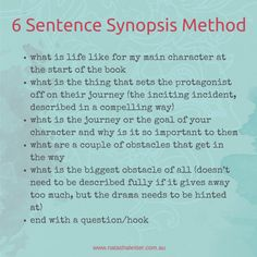 For help with writing a synopsis of your book - try this 6 sentence synopsis method.