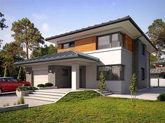 Projekt domu Kadyks 157,68 m2 - koszt budowy - EXTRADOM Two Storey House Plans, 2 Storey House Design, Dream House Plans, My Dream Home, Mediterranean Style Homes, Home Fashion, Bungalow, Architecture Design, New Homes