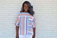 Check out this item in my Etsy shop https://www.etsy.com/listing/386220838/70s-vintage-plus-size-top-pastel-stripes