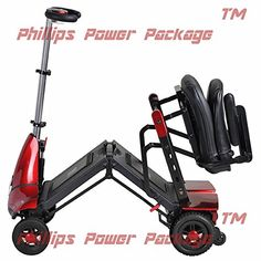 Solax Mobility  Mobie Classic  Folding Travel Scooter  4Wheel  Red  PHILLIPS POWER PACKAGE TM  TO 500 VALUE -- Details on product can be viewed by clicking the VISIT button