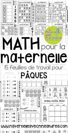 15 Easter themed, cut-and-paste, no-prep math worksheets en français! Perfect for substitutes or to consolidate a lesson. Counting, patterning, number sense, etc.! | Pâques | mathématiques | maternelle