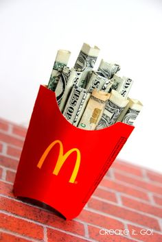 Creative Way to give Money as a Gift {DIY Money French Fries} ~ Create it. Go!