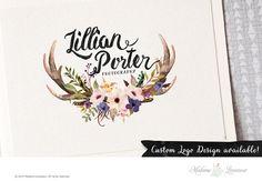 premade logo design watercolor flower deer logo by TheParisWife