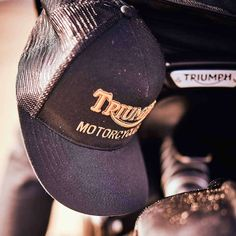 Triumph Oil Trucker Hat - Black / Gold Triumph Motorcycle Clothing, Motorcycle Outfit, Triumph Motorcycles, Black Gold, Cap, Classic, Baseball Hat, Derby, Motorcycle Suit