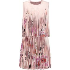 Alexis Eleanor fringed printed satin mini dress ($375) ❤ liked on Polyvore featuring dresses, vestidos, short dresses, antique rose, loose mini dress, red fringe dress, fringe mini dress and short loose dresses