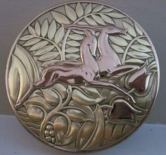 Art Deco Evan's Gazelle and Ferns Compact
