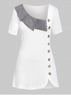 Cheapest and Latest women & men fashion site including categories such as dresses, shoes, bags and jewelry with free shipping all over the world. Plus Size Women's Tops, Plus Size T Shirts, Dress Neck Designs, Designs For Dresses, Kurta Designs, Blouse Designs, Dress Shirts For Women, Fashion Sewing, Trendy Tops
