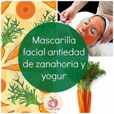 Mascarilla facial antiedad de zanahoria y yogur