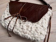Trendy boho ecru crochet&brown leather by Franellie