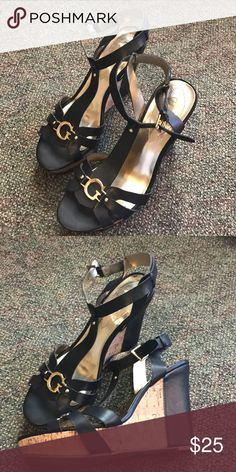 Guess wedges Guess wedges in Black with gold details and cork sole. Never worn, just sat in closet. Guess Shoes Wedges