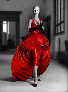 Roberto Capucci Nove Gonne (Nine Dresses Dress) in red silk taffeta, 1956.