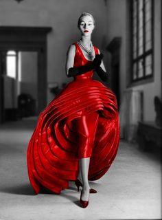 Roberto Capucci Nove Gonne (Nine Dresses Dress) in red silk taffeta, 1956.