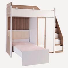 Genç Odası Takımı Stark Ranza Set 1 Neon Bedroom, Small Room Bedroom, Bedroom Decor, Bed Stairs, Bunk Beds With Stairs, Girls Bedroom Furniture Sets, Bunk Bed Rooms, Space Saving Beds, Modern Bunk Beds