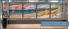 "Ann Loveless art quilt ""Sleeping Bear Dune Lakeshore"" 2013 Artprize Grand Rapids 1st place ($200,000 cash award) and Peoples Choice Grand Prize Winner."