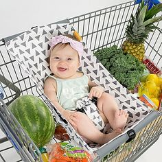 The Binxy Baby Shopping Cart Hammock easily secures to your shopping cart so child one can accompany you while at the store. It features a reliable safety strap, leaves plenty of room for groceries in the cart, and rolls up for storage when not in use.