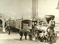 Virginia & Truckee Railroad's No. 11, The Reno prepares to leave Virginia City, about 1885. (Note the smoke stack difference which usually means it is burning wood. A straight stack burns coal.)
