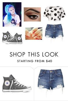 """""""Hanna,the Bad Girl in the Group."""" by bella-schroeder ❤ liked on Polyvore featuring Converse, Topshop, Être Cécile and Urban Decay"""