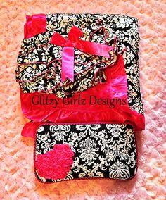 Damask and hot pink satin minky dot blanket, travel wipe case, baby bloomers baby shower gift set/newborn/welcome baby/princess/photo prop on Etsy, $50.00