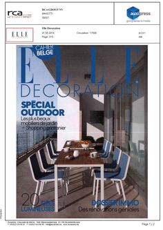 Leto chair and Quarto table on the cover of Elle Deco Belgium (May 2014).