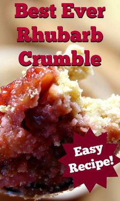 Best Ever Rhubarb Crumble. A delicious easy dessert with juicy sweet and tangy rhubarb and a crisp, crunchy topping. A perfect pudding made from scratch. Best Dessert Recipes, Cheesecake Recipes, Easy Desserts, Sweet Recipes, Delicious Desserts, Rhubarb Cobbler, Great British Food, Rhubarb Recipes, Easy Meals