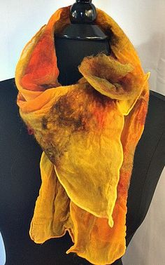 Felted Scarf, Nuno Felted Scarf, Silk Felt Scarf, Gifts for Women, Accessories for Women, GracefulEweFiberArts, Morning Sunrise, HandPainted by GracefulEweFiberArts on Etsy