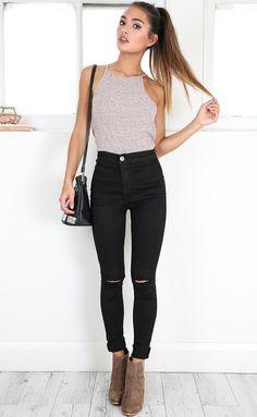 Showpo Bella skinny jeans in black denim-14 (XL) Jeans