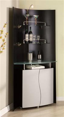 Contemporary Black Silver MDF Glass Metal Bar CabinetGL-M7442-B-S