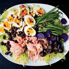 Salmon Nicoise by bonappetit: We love making this salad with mâche instead of traditional frisée. #Salad #Salmon #Healthy