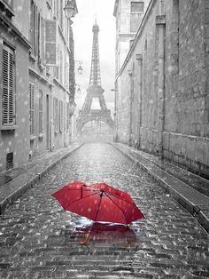 Kate Customize Rainy Day Studio Background Grandiose Eiffel Tower Photographic Red Umbrella