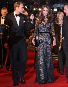 Prince William, Duke of Cambridge and Catherine, Duchess of Cambridge attend the UK premiere of War Horse at the Odeon Leicester Square in London, England on January 8, 2012