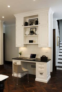 Super Home Office Cabinets Built Ins Desk Areas Ideas Kitchen Office Nook, Kitchen Desk Areas, Home Office Cabinets, Kitchen Desks, Home Office Desks, Office Cubicles, Office Workspace, Kitchen Work Station, Office Bookshelves