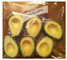 How to FREEZE AVACADOS!:  Just cut the avocados in half and remove the seed. Wrap in saran wrap (a vacuum sealer is the best option if you have one) then place into a freezer safe container or bag.  I'm not sure how long they will keep, but the post from Pink Sugar Bowl states that they last at least 3 months (she goes through her avocados rather quickly).