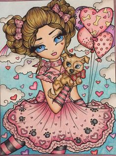 Coloring Book Art, Colouring Pages, Adult Coloring, Beautiful Dark Art, Beautiful Ladies, Colouring Heaven, Hannah Lynn, Cute Animal Drawings, Fairy Art