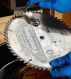 Pitch, tar, and resin build up quickly when cutting wood and can gum up saw blades until they cut like dull ones. Follow this simple process to restore them.