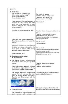 Detailed lesson plan in Science III Basic Types of Clouds 4a's Lesson Plan, Lesson Plan Outline, Lesson Plan Examples, Daily Lesson Plan, Science Lesson Plans, English Lesson Plans, English Lessons, Chemistry Lessons, Science Lessons