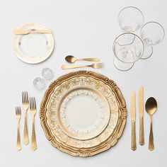 RENT: Florentine Chargers in Gold + Crown Gold Collection Vintage China + Chateau Flatware in Matte Gold + Chloe Gold Rimmed Stemware + Antique Crystal Salt CellarsFlorentine Chargers in Gold + Chloe Gold Rimmed Stemware Dining Ware, Dining Room, Dinnerware Sets, Classic Dinnerware, Porcelain Dinnerware, Flatware Set, Cutlery, Dinner Sets, Decoration Table