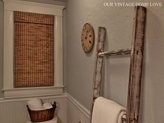 """awesome """"how to"""" make your own vintage ladder. Perfect for family room and blankets."""
