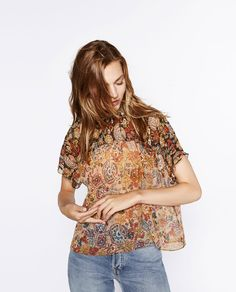 PRINTED HIGH COLLAR BLOUSE-View all-TOPS-WOMAN | ZARA United States