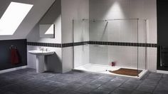 Minimalist #Bathroom For Loft #Design Idea With Glass Pivot Shower Also Natural Bathroom #Flooring Tile And White Pedestal Sink Feat Square Wall Mirror . Visit http://www.suomenlvis.fi/