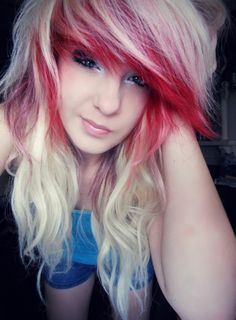 #white & #red #dyed #hair #pretty